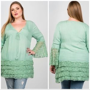 Tops - Chateau Mint Green Luxury layered Ruffle Top